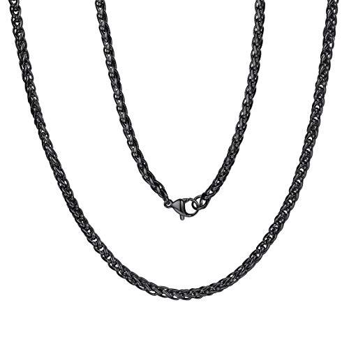 ChainsPro Damen Herren Edelstahl Rolo Kette Herrenhalskette Farbe Schwarz ohne Anhänger Breit 3mm
