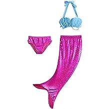 Pettigirl 3Pcs Bañador De Sirena Disfraz De Princesa Bikini Pantalones Cortos Falda Como Cola De Sirena Para Niñas
