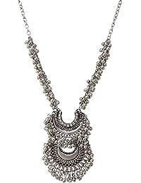 Amazon oxidised silver necklaces pendants jewellery aabhu afghani designer turkish style vintage oxidised german silver chandbali tribal antique jewellery set for girls aloadofball Gallery