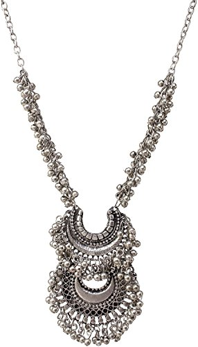 Aabhu Afghani Designer Turkish Style Vintage Oxidised German Silver Chandbali Tribal Necklace Pandeant Antique Jewellery Set For Girls & Women Boho Gypsy