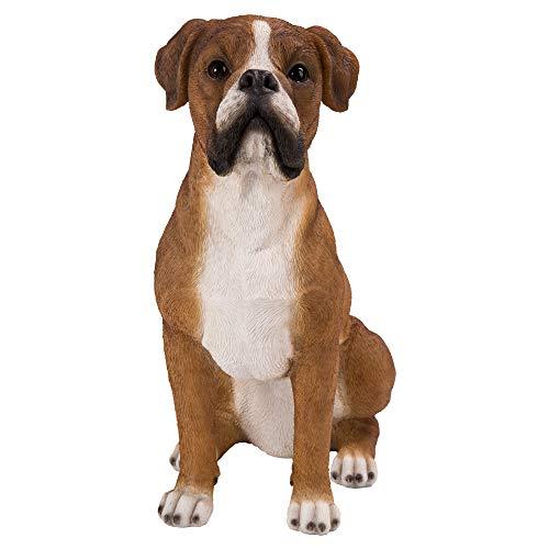 dehner statuetta cane boxer, ca. 39 x 35 x 19 cm, in poliresina, marrone/bianco