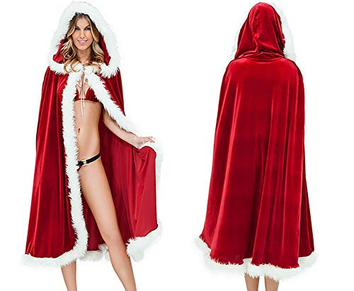 Kostüm Krankenschwester Cape - Weihnachts-Weihnachts Frauen Phantasie Kleid Red Cape Hooded Mantel Halloween Bar Party Kostüm Weihnachtsmantel Märchen Rotkäppchen