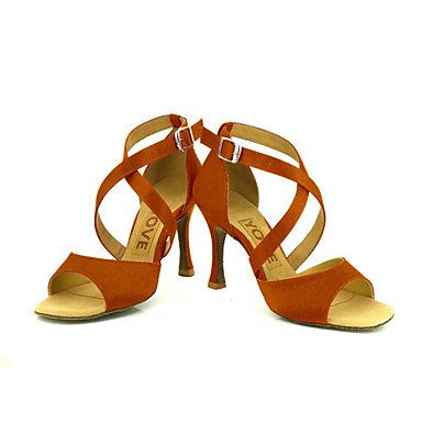Scarpe da ballo Donna - Latinoamericano / Salsa - Customized Heel - Satin -Nero / Blu / Giallo / Rosa / Viola bronze