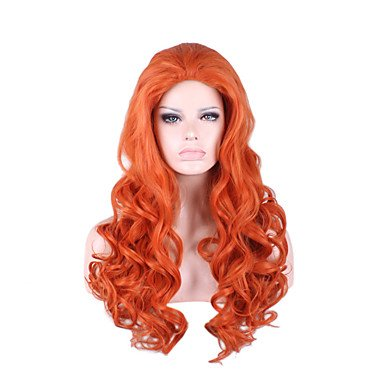 Hitzebeständig Lange Länge orange Wave Volumen Meerjungfrau Cosplay Fashion Szene Girl Party Perücke neue Farbe syntheitc Full (Wellen Meerjungfrau Erwachsene Perücke)