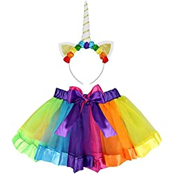 Clerfy Acc Rainbow Ribbon Tutu Skirt para Niñas Pequeñas Fotos de Disfraces de Ballet con Unicorn Flower Diadema para Little Pony Dress Up Fun (Un Arco Iris de Color, L)