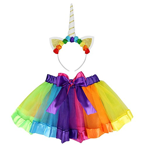Clerfy Acc Rainbow Ribbon Tutu Skirt para Niñas Pequeñas Fotos de Disfraces de Ballet con Unicorn Flower Diadema para Little Pony Dress Up Fun (Un Arco Iris de Color, L)