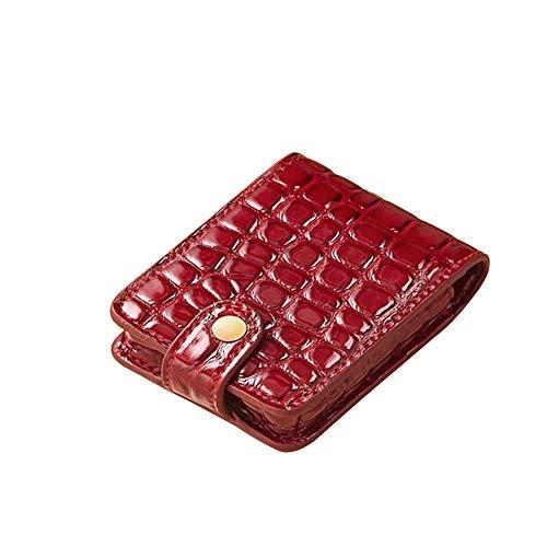 1PC Leder Lippenstift-Fall-Beweglicher Kosmetik-Halter-Beutel Mit Spiegel Lippenstift Organizer Mini Kosmetischen Speicher-Kit Für Geldbeutel-Beutel (Rot) (Lippenstift-halter Mit Spiegel)