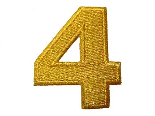 Aufnäher/Aufbügler - Zahl/Ziffer gelb - Alle Zahlen einzeln auswählbar, Zahl/Ziffer:Zahl 4 - 4.9x4.1cm (Gestickte Zahlen)