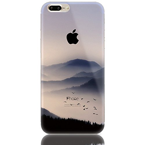 Custodia iPhone 7 Plus,Gray Plaid Design Trasparente Chiaro Creative 3D Case Cover , Ultra-sottile marche popolari TPU Gel Silicone Bumper Protettivo Skin Custodia Per iPhone 7 Plus - Neve in montagna Gruppo di uccelli