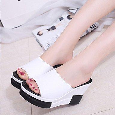 LvYuan Sandalen-Kleid Lässig-PU-Flacher Absatz Keilabsatz-Komfort-Schwarz Weiß Black