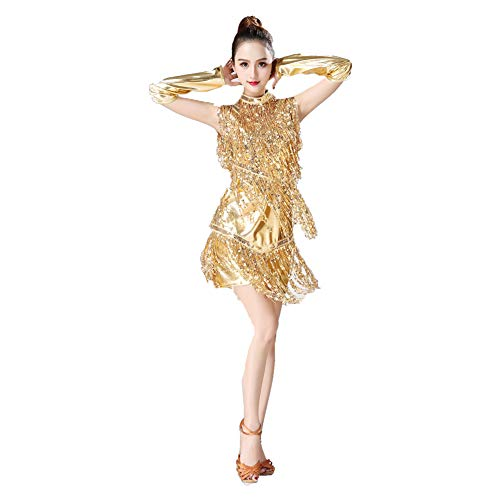Femme Kostüm Charleston - zx-shop Latin Dance Fransenrock ÄRmellose Fransen Pailletten KostüM Wettkampfanzug Performance Bekleidung