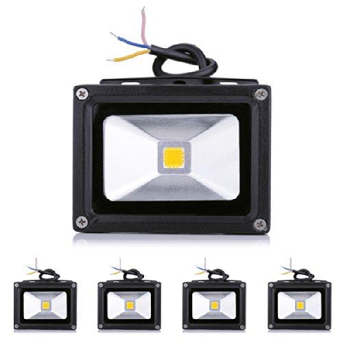 *Rondaful*5Stück 10W LED Fluter mit warmweißes Licht Flutlichtstrahler wasserdicht IP65 warmweiß in schwarz LED Flutlicht Scheinwerfer Wandstrahler Innenbeleuchtung/Außenbeleuchtung Strahler warmlicht