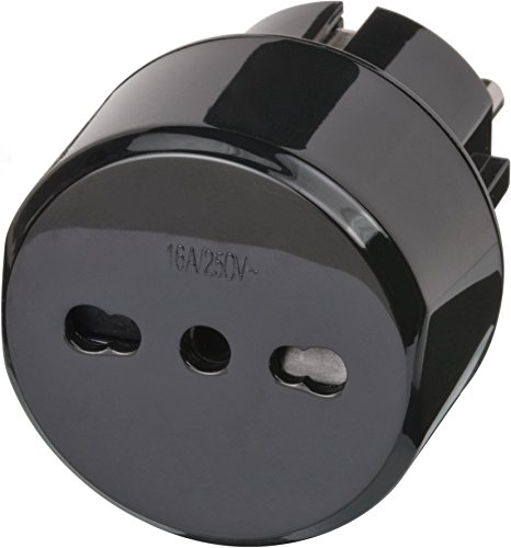 Brennenstuhl Reisestecker / Reiseadapter (Reise-Steckdosenadapter für: Euro Steckdose und Italien Stecker) Farbe: schwarz