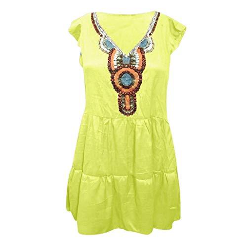 eid Mit V Ausschnitt Und Schlitzsaum Für Damen Baggy Kaftan Mini Dres Bedrucktes Kleid Aus Baumwolle Und Leinen Mit Kurzen Ärmeln ()