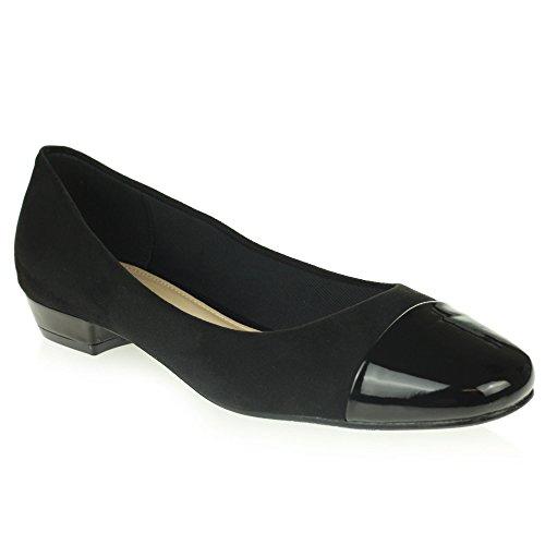Frau Damen Geschlossene Zehe Ballett Dolly Pumps Ballerinas Komfort Büro Arbeit Flache Schwarz Schuhe Größe 38