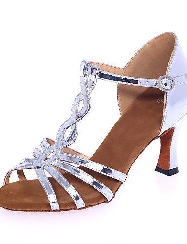 ShangYi Chaussures de danse ( Argent / Or ) - Non Personnalisables - Talon Bobine - Similicuir - Latine Gold