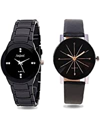 Anjani IW Collection Analog Diamond Shape Glass Watch With Black Watch For Girls And Womens Combo Of 2 -GH67