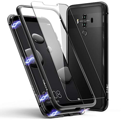 Huawei Mate 10 Pro Hülle, ZHIKE Magnetische Adsorption Handyhülle Ultra Dünn Metallrahmen Hartglas mit eingebautem Magnetklappdeckel für Huawei Mate10 Pro (Transparent Schwarz)