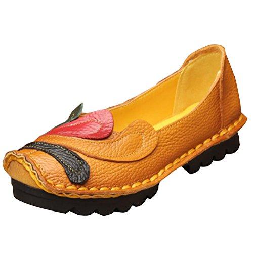 Vintage Handmade fleur Chaussures plates en cuir des Style 2 Gelb