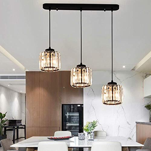 Bronze-drei Licht-insel (JYXZ 3 Licht Kristall Hänge Pendelleuchten Moderne Kronleuchter Für Insel Esszimmer Bar Cafe Loft Balkon Treppe Wohnzimmer Deckenleuchten, Black)