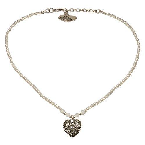 Alpenflüstern Filigran Perlen-Trachtenkette Trachtenherz - Damen-Trachtenschmuck mit antik-silber-farbenem Strass-Herz, Dirndlkette creme-weiß DHK205
