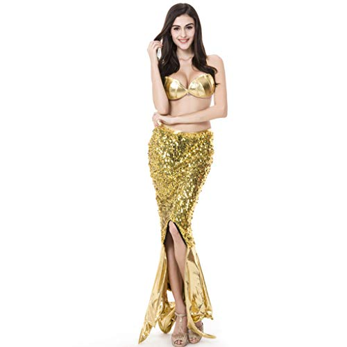 Krieger Kostüm Königin Der - CJJC Zweiteiliges Meerjungfrau-Kostüm der Mode-Pailletten, sexy Frauen-Leistungs-Feiertags-Partei-Cosplay-Ausstattung, Gold M