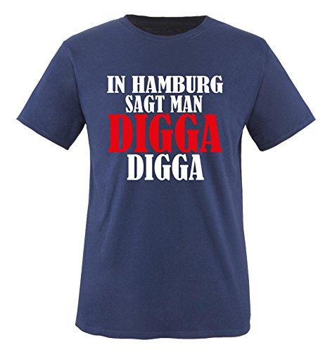 IN HAMBURG SAGT MAN DIGGA - Herren Unisex T-Shirt Navy / Weiss / Rot