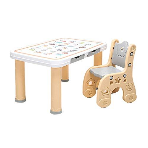 DAXIONG Kinder Kunststoff Aktivität Tisch und Stuhl Set - 1 Basteltisch & 1 Kinderstühle, umweltfreundliche Pe-Material, ideal für Kleinkinder Lernen Malen Do Arts and Crafts Essen -