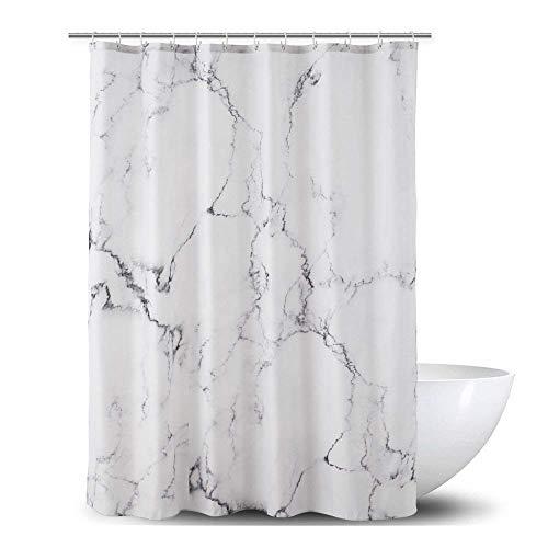 Alumuk Duschvorhang aus Stoff | Wasserdichter Duschvorhang mit verstärktem Saum | waschbarer Textil Duschvorhang in der Größe 150 cm x 180 cm | Polyester Marmor -