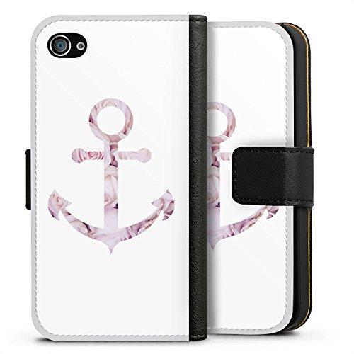 Apple iPhone 7 Hülle Case Handyhülle Anker Rosen Sommer Sideflip Tasche schwarz