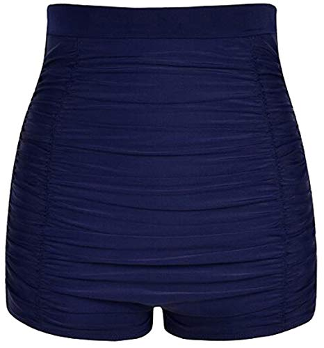 Akaeys Ultra High Waisted Swim Shorts für Frauen gerafft Bauchkontrolle Bikini Badeanzug Hose - Blau - XXX-Large
