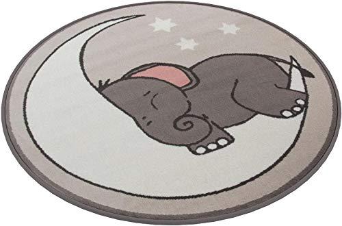 Tappeto per bambini, motivo: elefante, luna e stelle, per cameretta dei bambini, Grey, 120cm (3'11') Diameter