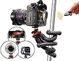 Flexibles Stativ mit Bluetooth-Auslöser, Selfie Stick, Reisestativ für Smartphones z.B. iPhone X, Samsung S7 Edge S8+ S9 Plus, Huawei P10 P20, DSLR Canon, Nikon, Sony, Actioncam GoPro - rot, Atairs