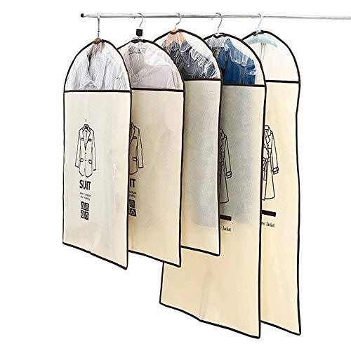 Premium Kleidersack Set mit 5 Kleidersäcken aus Vliesstoff Anzugbeutel für Reise und Kleidung Aufbewahrung von Kleidern Hemden Mäntel Mit Reißverschluss und transparentem Fenster Groß + Mittelgroß Atm