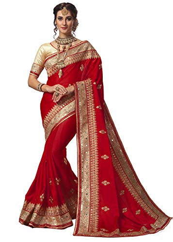 Sarvadarshi Fashion Women's Heavy Designer Satin Red saree