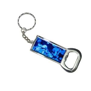 Méduse–Bleu Jelly Fish Océan sous-marin Porte-clés Anneau porte-clés Ouvre Bouteille Bottlecap