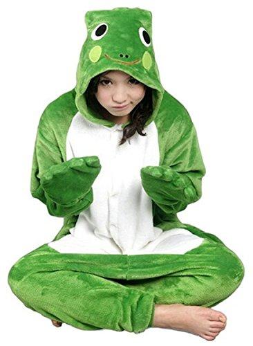 ABYED® Jumpsuit Tier Karton Fasching Halloween Kostüm Sleepsuit Cosplay Fleece-Overall Pyjama Schlafanzug Erwachsene Unisex Lounge,Erwachsene Größe S - für Höhe 150-158cm Frosch