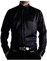 Pierre Martin Designer Herren Glanz Hemd Slim Fit tailliert bügelleicht  langarm Glanzhemd eng geschnitten bunt 9374589a91