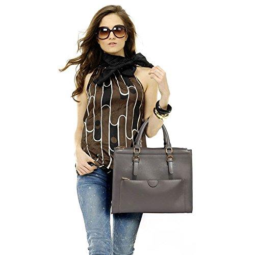 LeahWard® Große Größe Tragetaschen Zum Damen mode Damen Vorderseite Tasche Schulter HandTaschen 366 Grau