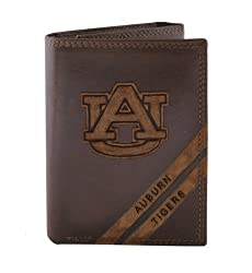 NCAA Auburn Tigers Zep-Pro Pull-Up Leather Trifold Embossed Wallet, Brown