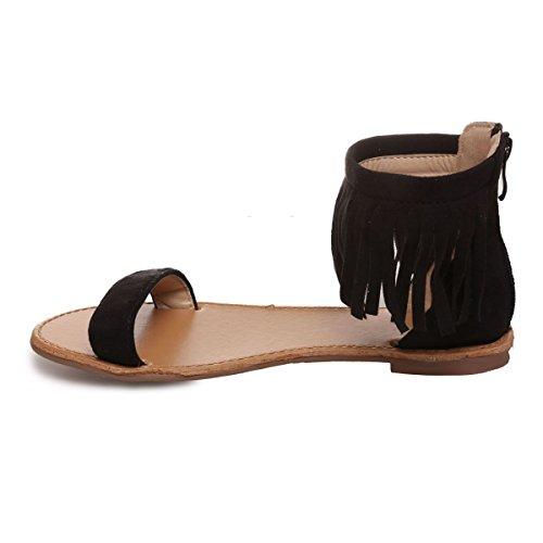 La Modeuse - Sandales en simili daim à lanière horizontale sur le devant Noir