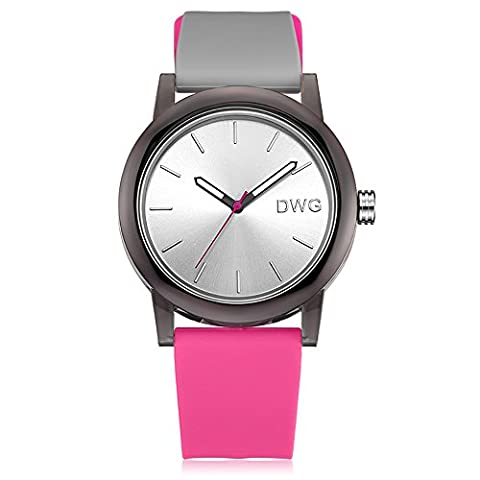 DWG Unisex Silicone Strap Couple Montre Quartz Sports Montre Casual Simple Style Silicone Strap Unisex Wristwatch Sports Watches-Wihte Dial (Rose)