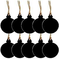 Healifty Dekorative Holz Mini Tafel Zeichen Hängenden String Doppelseitige Kugelform für Weihnachten Jäten Preis Tags Dekoration 10 STÜCKE