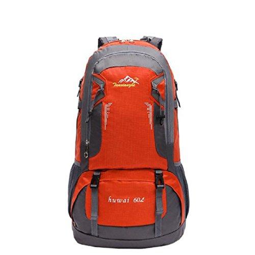 Loveso-Wanderrucksäcke Outdoor-Sportarten Outdoor-Wandern Camping Reisen Wasserdichte Berg 60L Rucksack Tasche (Grün) Orange
