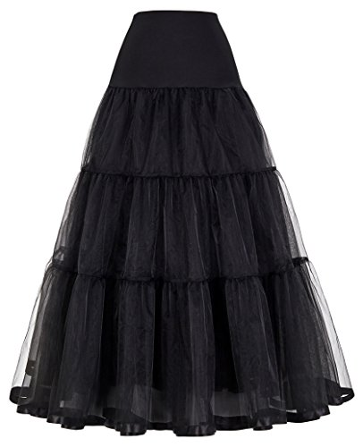 GRACE KARIN Mujeres Enaguas Largas Rockabilly Pin Up para Bodas Damas Negro S
