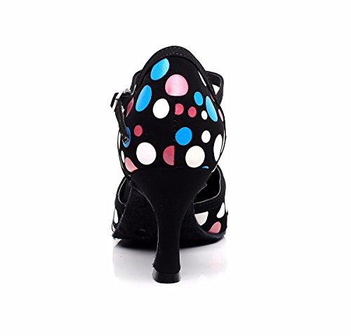 misterioso da donna Latin Dance scarpe con suola morbida femmina latina sandali da ballo scarpe Black