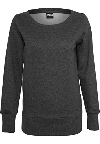 Urban Classics Ladies Side Zip Long Crewneck, Pull Femme Anthracite