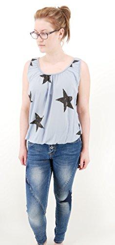 Stylisches modernes Top Shirt ärmellos mit Stern Print - Einheitsgröße - M L 38 40 42 (8215) blaugrau taubenblau schwarz