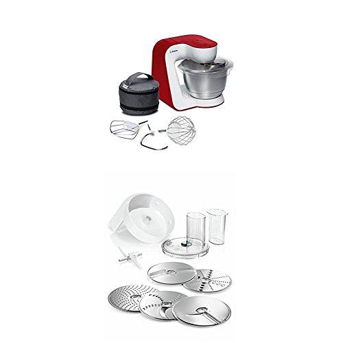 Bosch MUM54R00 Küchenmaschine StartLine Edelstahl-Rührschüssel, weiß/tiefrot + MUZ5VL1 Lifestyle Set VeggieLove mit Durchlaufschnitzler inkl. 3 Scheiben mit Asia-Gemüse-Scheibe und Kartoffelpuffer