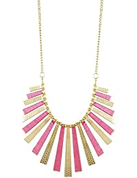 Aradhya Gold And Pink Plated Statement Necklace For Women And Girls